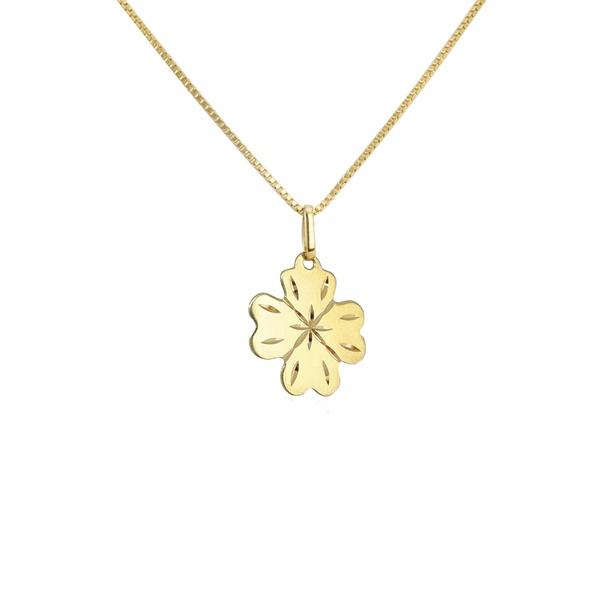 Pingente Trevo de quatro folhas grande em ouro 18k