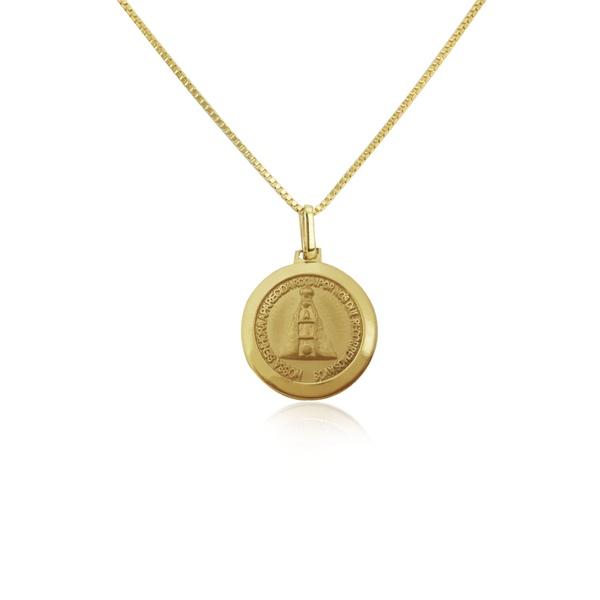 Pingente de Nossa Senhora aparecida Redonda média em ouro 18k