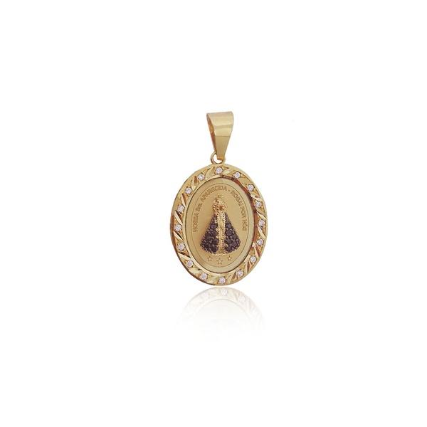 Pingente de Nossa Senhora Aparecida com diamantes sintético em ouro 18K