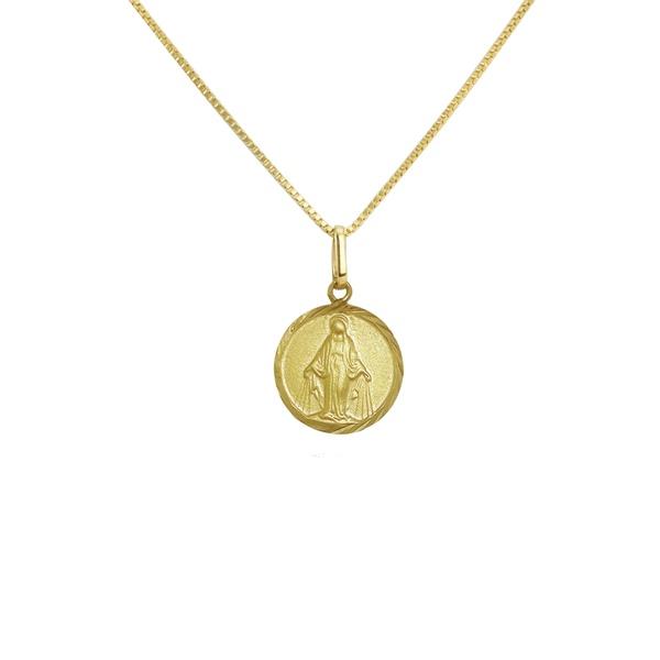 Pingente de Nossa Senhora das Graças redonda em ouro 18k