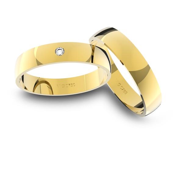 Alianças em Ouro 18k amarelo com Diamante (4.00 mm de largura)
