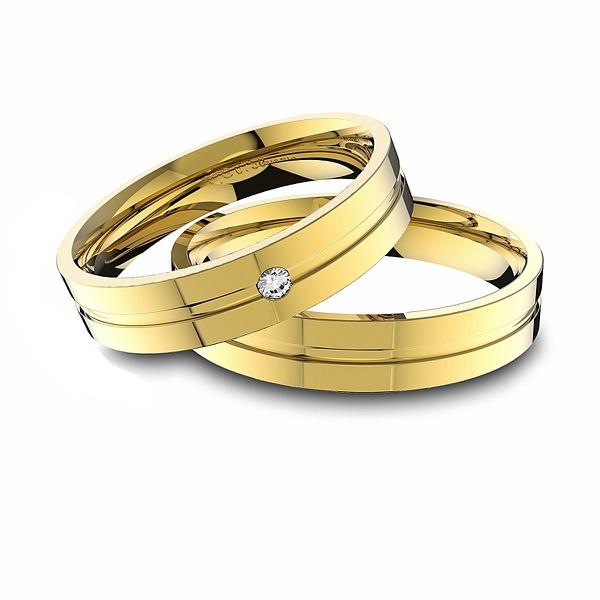 Alianças em Ouro 18K amarelo Anatômicas com Diamante (4.30 mm de largura)