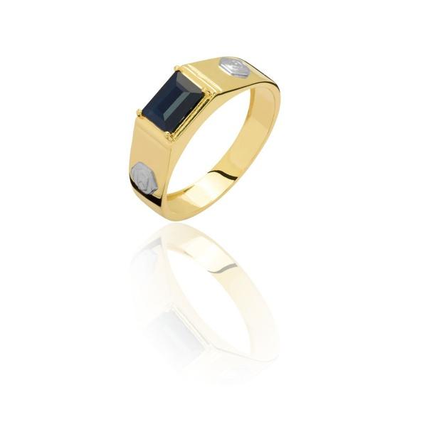 Anel de Formatura em Ouro 18k amarelo e Pedra Natural