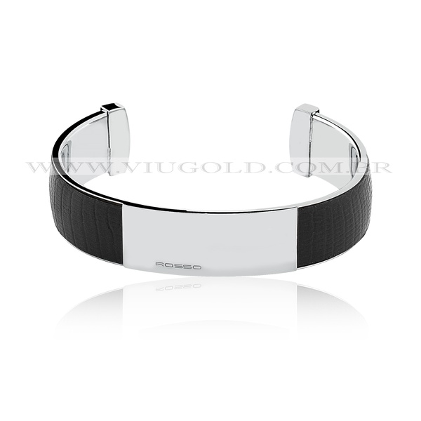 Bracelete masculino flexível Design Italiano de Aço com placa e couro preto