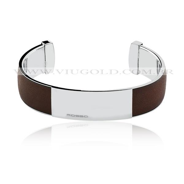Bracelete masculino flexível Design Italiano de Aço com placa e couro marrom