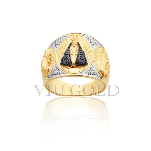 Anel de Nossa Senhora Aparecida com Safira Azul e Diamantes com N.S. das Graças e N.S. de Fátima nas laterais