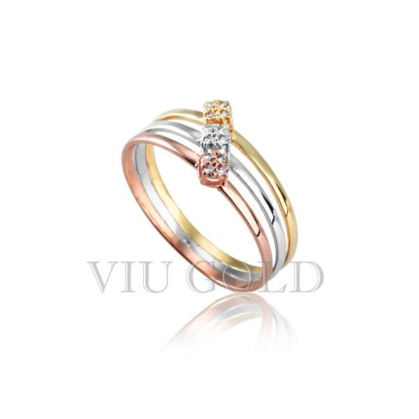 Anel em ouro 18k amarelo, branco e rose com Diamante sintético