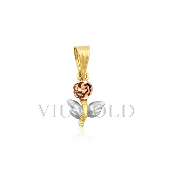 Pingente de flor em ouro 18K amarelo, branco, e rose