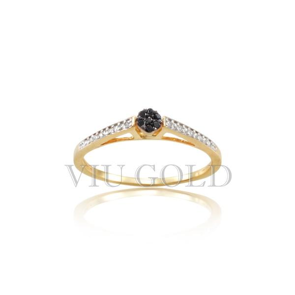 Anel em ouro 18K amarelo com Diamantes negros e Diamantes brancos