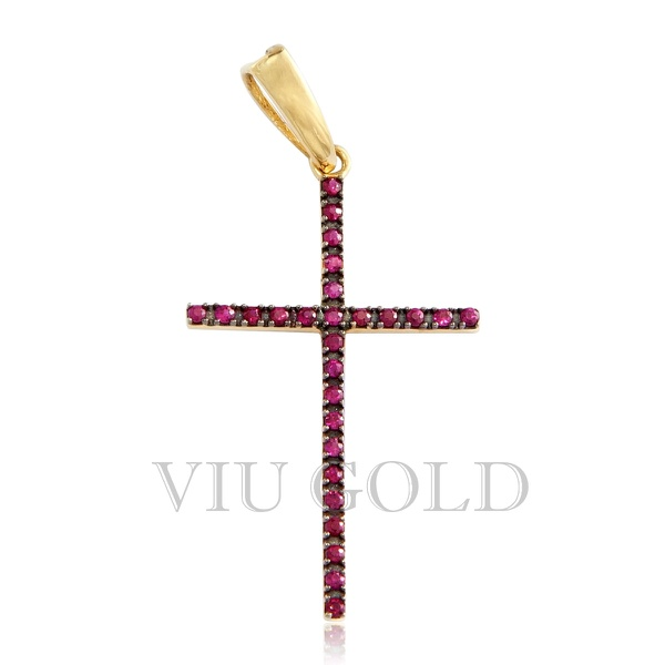 Pingente cruz em ouro 18K com Rubi