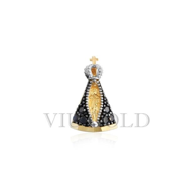 Pingente de Nossa Senhora Aparecida em ouro 18k com Safira Azul