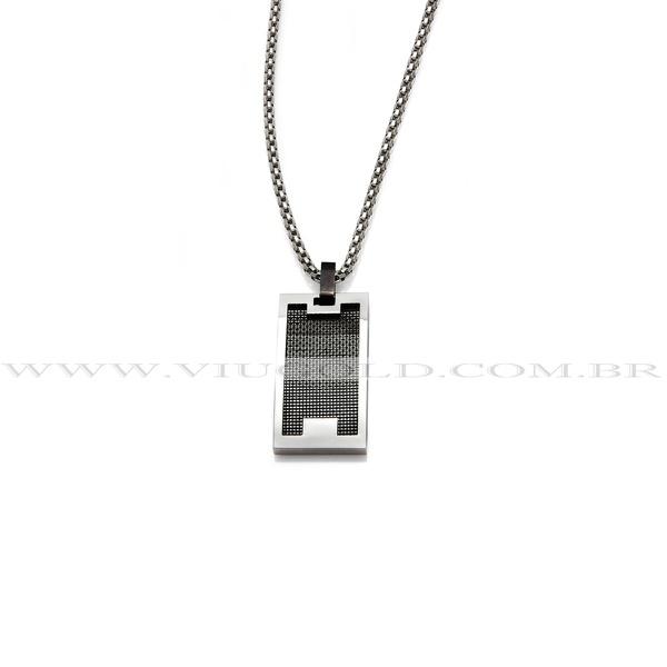 Corrente design italiano em Aço e pingente placa com detalhe black