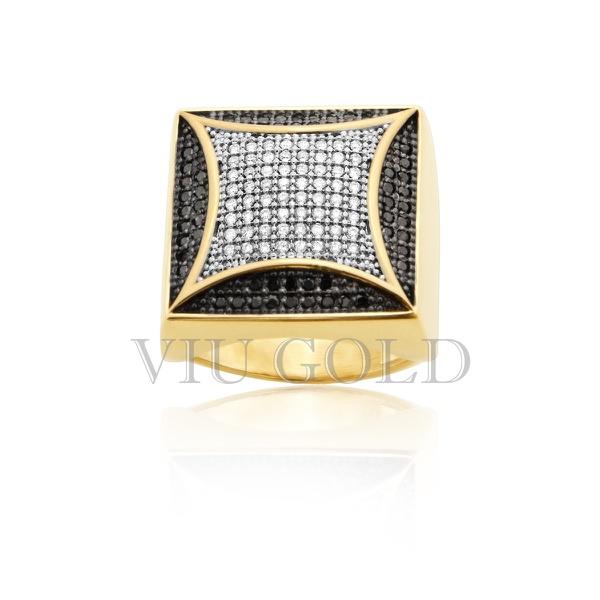 Anel em ouro 18k amarelo com Diamante branco e Diamante negro