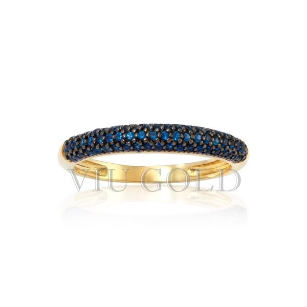 Anel em ouro 18k amarelo com Safira azul sintética