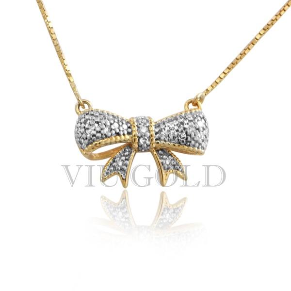 Gargantilha de Laço em ouro 18k amarelo e branco com Diamantes