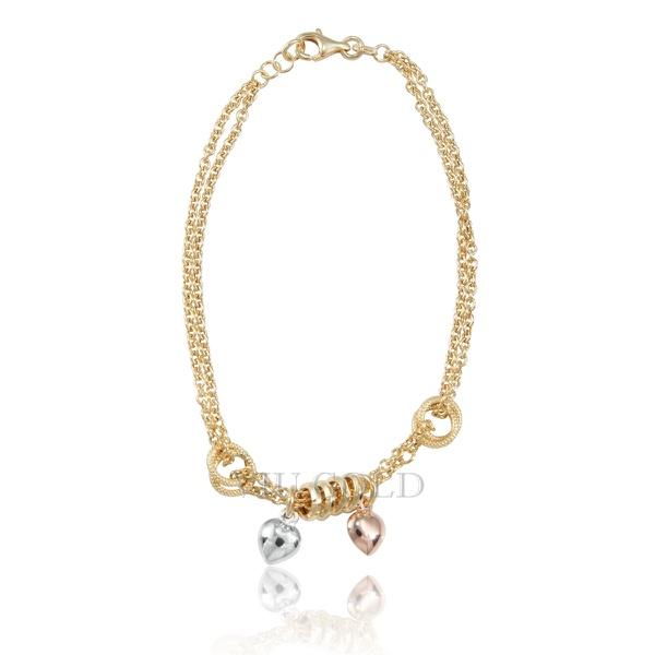 Pulseira em ouro 18K com fios duplos, argolas e corações em ouro branco/rose