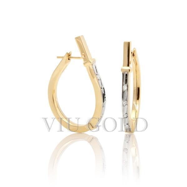 Brinco Anzol grande com Diamantes em ouro 18k amarelo e branco