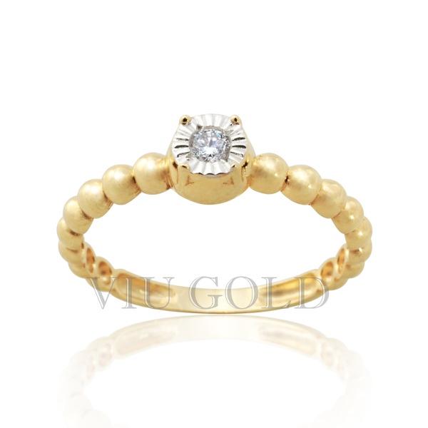 Anel tipo solitário em ouro 18k amarelo e branco com Diamante