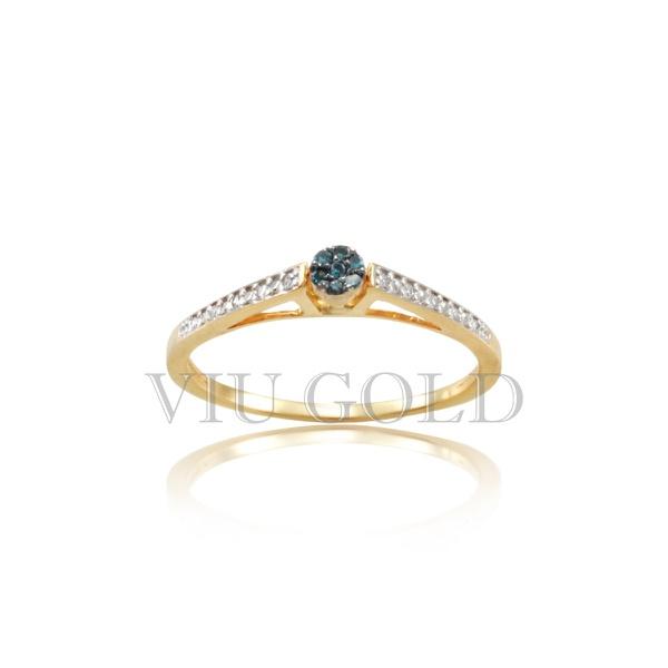 Anel em ouro 18K amarelo com Diamante Azul e Diamantes brancos