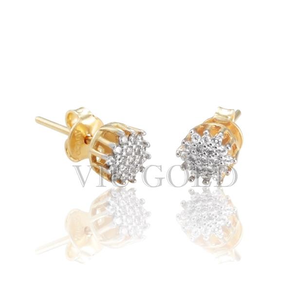 Brinco em ouro 18k amarelo e branco com Diamante sintético
