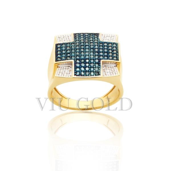 Anel em ouro 18k amarelo com Diamante azul e Diamante branco