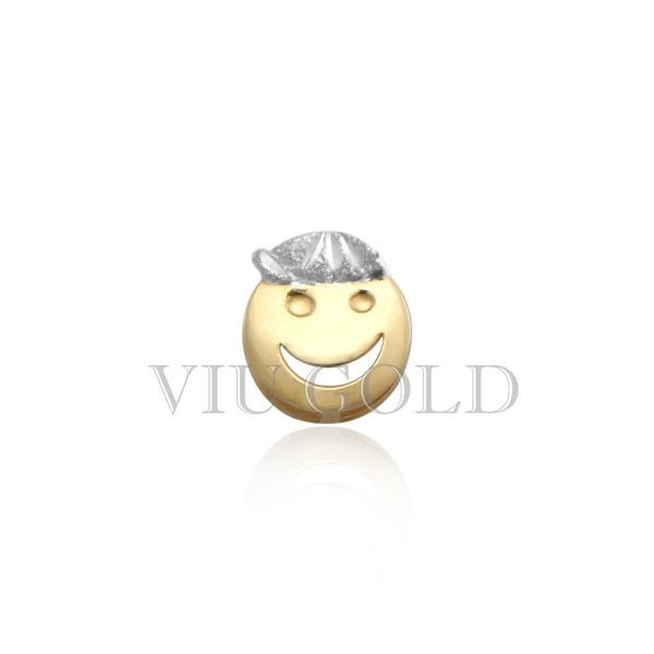 Pingente de carinha menino em ouro 18K amarelo, branco