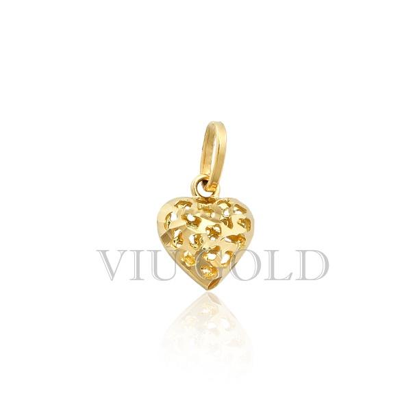 Pingente de coração em ouro 18k amarelo todo trabalhado