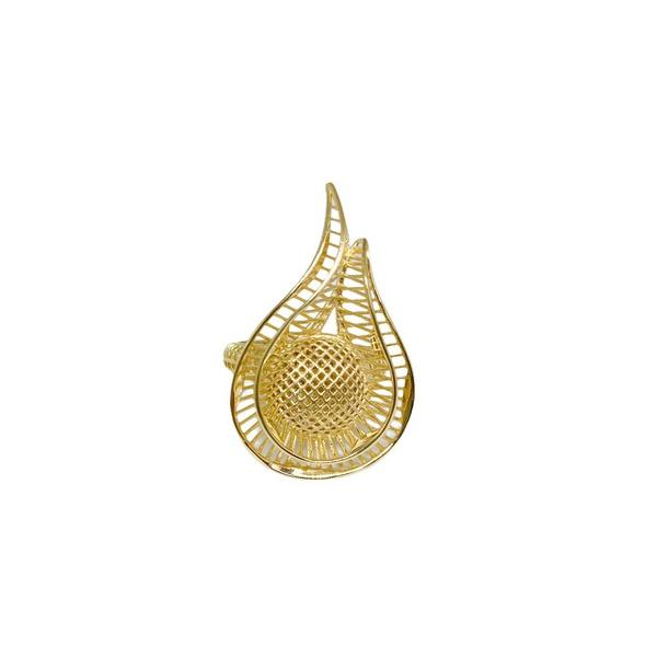 Anel em ouro 18k - Anel rendado amarelo