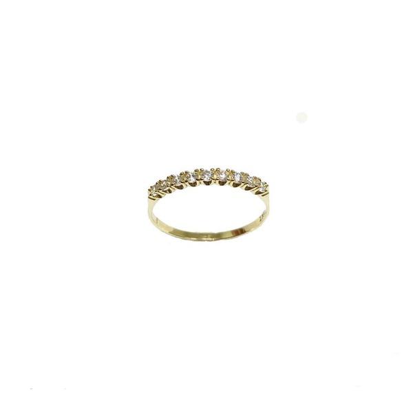 Meia aliança com 11 diamantes sintético 2,0 mm em ouro 18k
