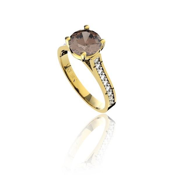 Anel em Ouro 18K Amarelo com Quartzo Fumê e Diamantes (Veja o vídeo)