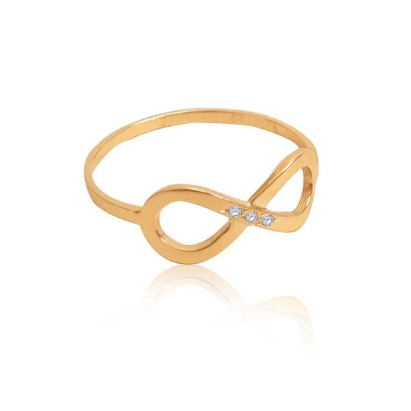 Anel em Ouro 18k amarelo símbolo Infinito com 3 diamantes sintéticos