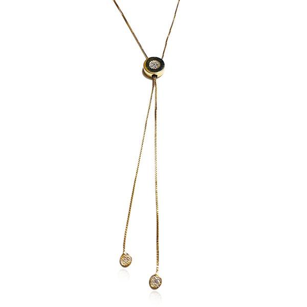 Gargantilha gravata em ouro 18k amarelo com 8 Diamantes