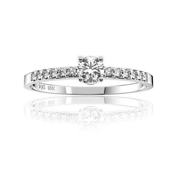 Anel solitário em Ouro 18K Branco com Diamante de 15 Pontos (Veja o vídeo)