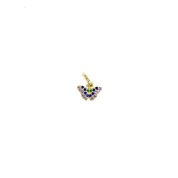 Pingente borboleta cravejado com zircônias em ouro 18K