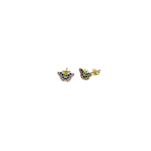 Brinco borboleta cravejado com zirconias em ouro 18K