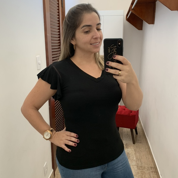 BLUSA FEMININA PRETA MANGUINHA FLARE
