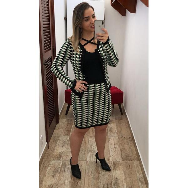 CONJUNTO FEMININO TRICO CASAQUINHO MANGA LONGA E SAIA LÁPIS