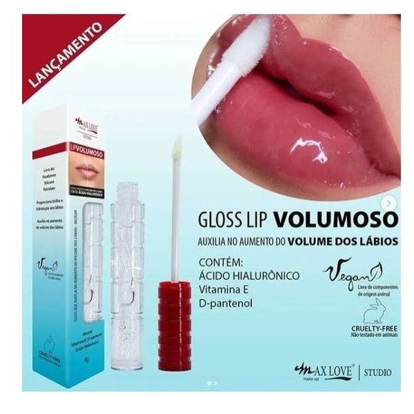 GLOSS MAX LOVE LIP VOLUMOSO COM ACIDO HILURONICO VEGANO