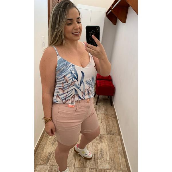 SHORT FEMININO SARJA CINTURA ALTA LOOPPER NUDE ROSE