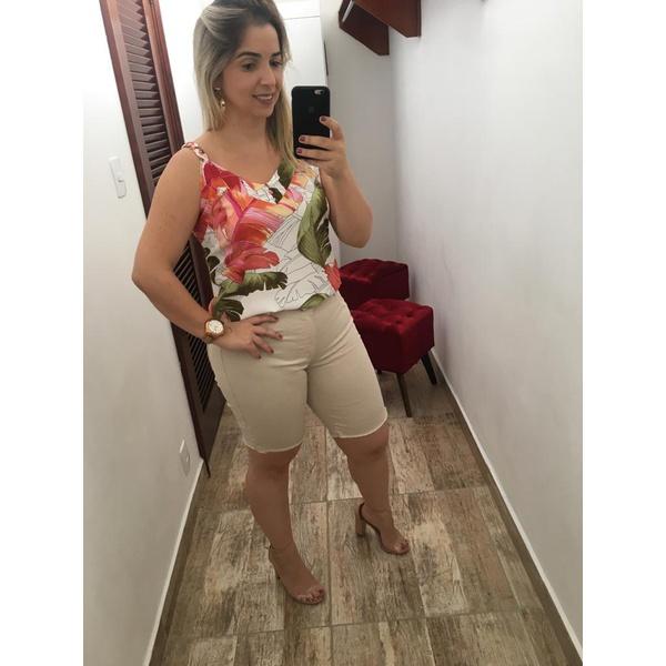 BERMUDA LONGA FEMININA CINTURA ALTA LOOPPER BEGE