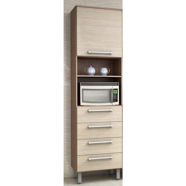 Paneleiro Para Cozinha 1P 4GV Microondas Evolution Noce Bronze 5134.75 - Batrol Móveis
