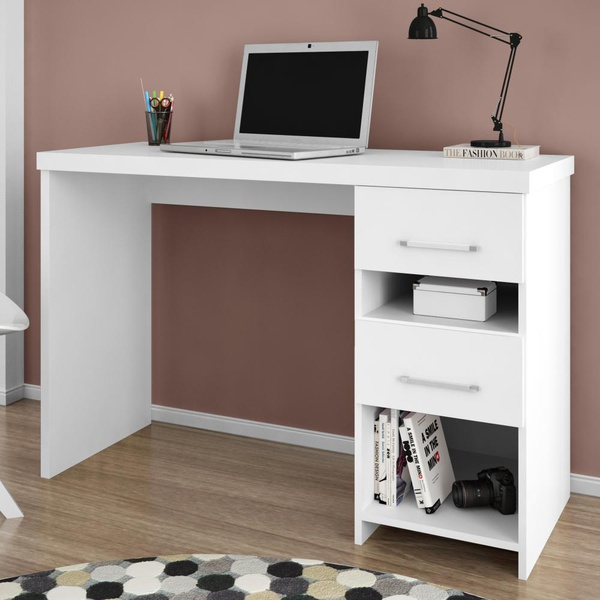Escrivaninha 2 Gavetas Duna Branco - Germai Móveis