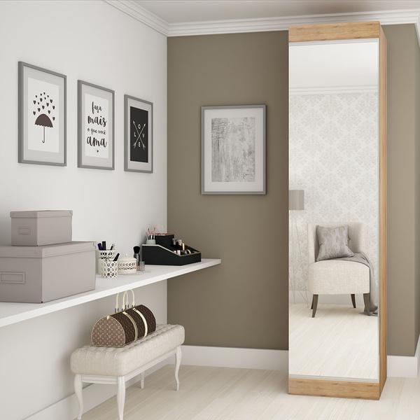 Sapateira Esmeralda 1 Porta Com Espelho Madeirado - Gelius Móveis