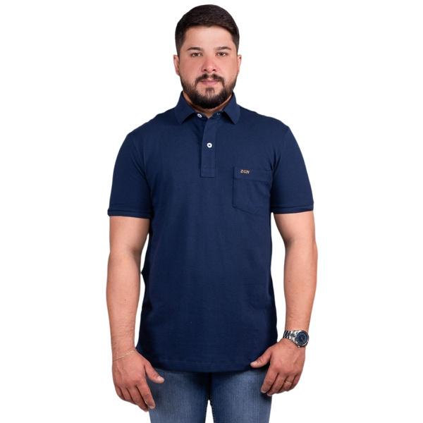 Camisa Polo Com Bolso Masculina Zegen Azul Marinho