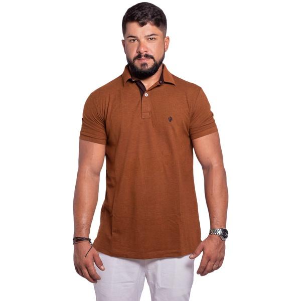 Camisa Polo Masculina Zegen Caramelo