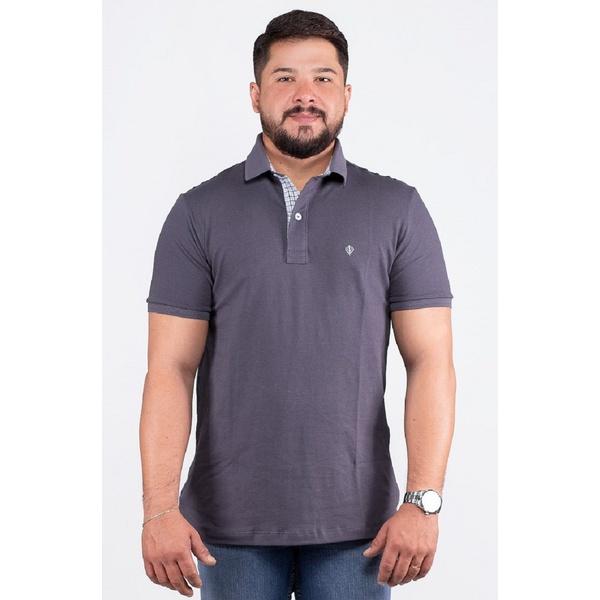 Camisa Polo Masculina Cinza Detalhe Xadrez Piquet Premium