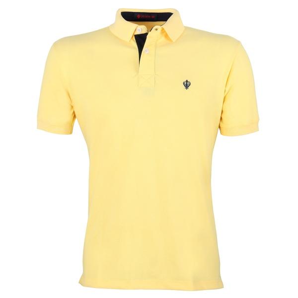 Camisa Polo Zegen Amarelo Banana Detalhe Azul Marinho