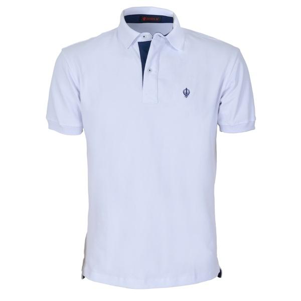 Camisa Polo Zegen Branca Detalhe Azul Marinho