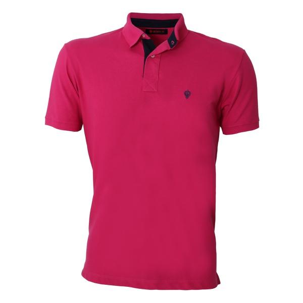 Camisa Polo Zegen Pink Detalhe Azul Marinho