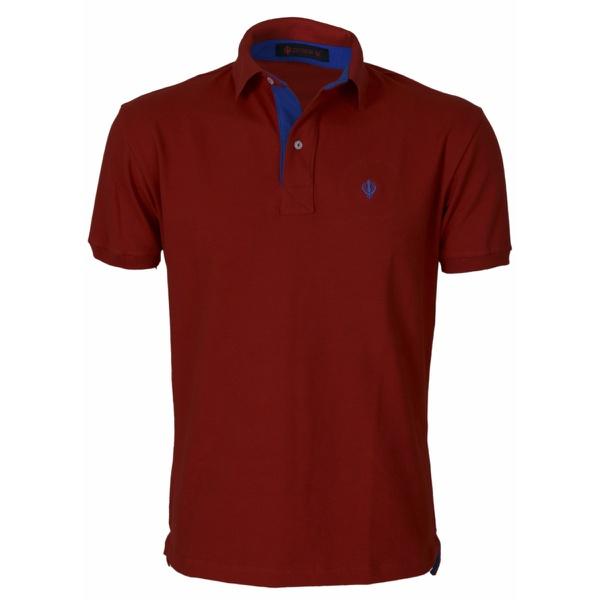 Camisa Polo Zegen Vermelha Detalhe Azul Bic